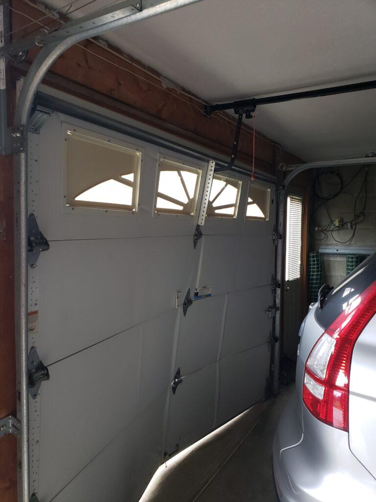 bent garage door inside view