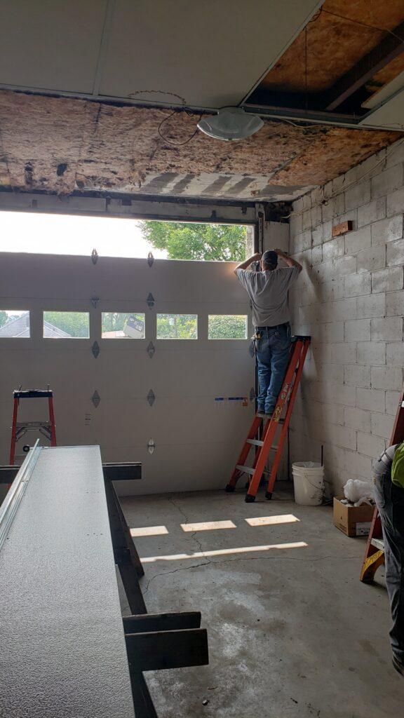 garage door top panel installation